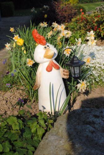 Deko Hahn Figur 57 cm mit Solarlampe Gartenfigur Garten Solar Riesig XXL