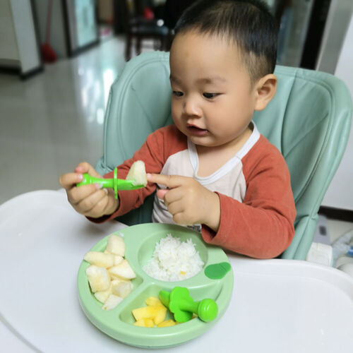 Baby Self Feeding Training Spoon Fork Cutlery Set Safe and Easy to Use 2X G5O