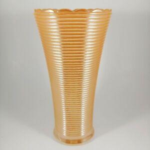 """ANCHOR HOCKING Fire King Peach Luster Milk Glass Vase - vtg 7"""" Iridescent Orange"""