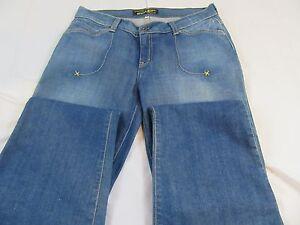 GUESS JEANS Flare Leg w/Embroidery,Stretch, Medium Wash, SZ 31 X 33 EUC