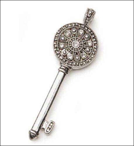 Rhinestone Key Pendant and Silver-Plate Chain