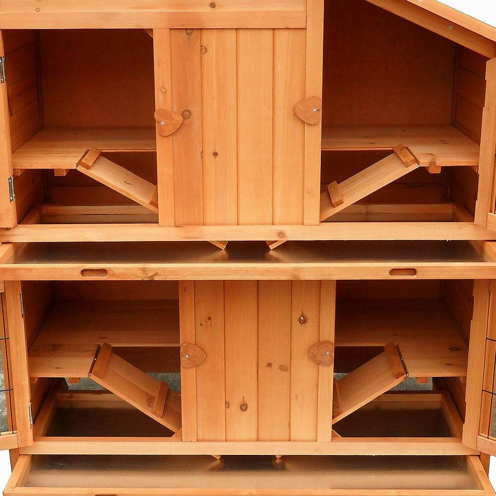 Gabbia per lepri lepri lepri xxl allevamento 4 box in legno animali di piccole dimensioni pollaio gabbia per conigli recinto libero  9ad91c