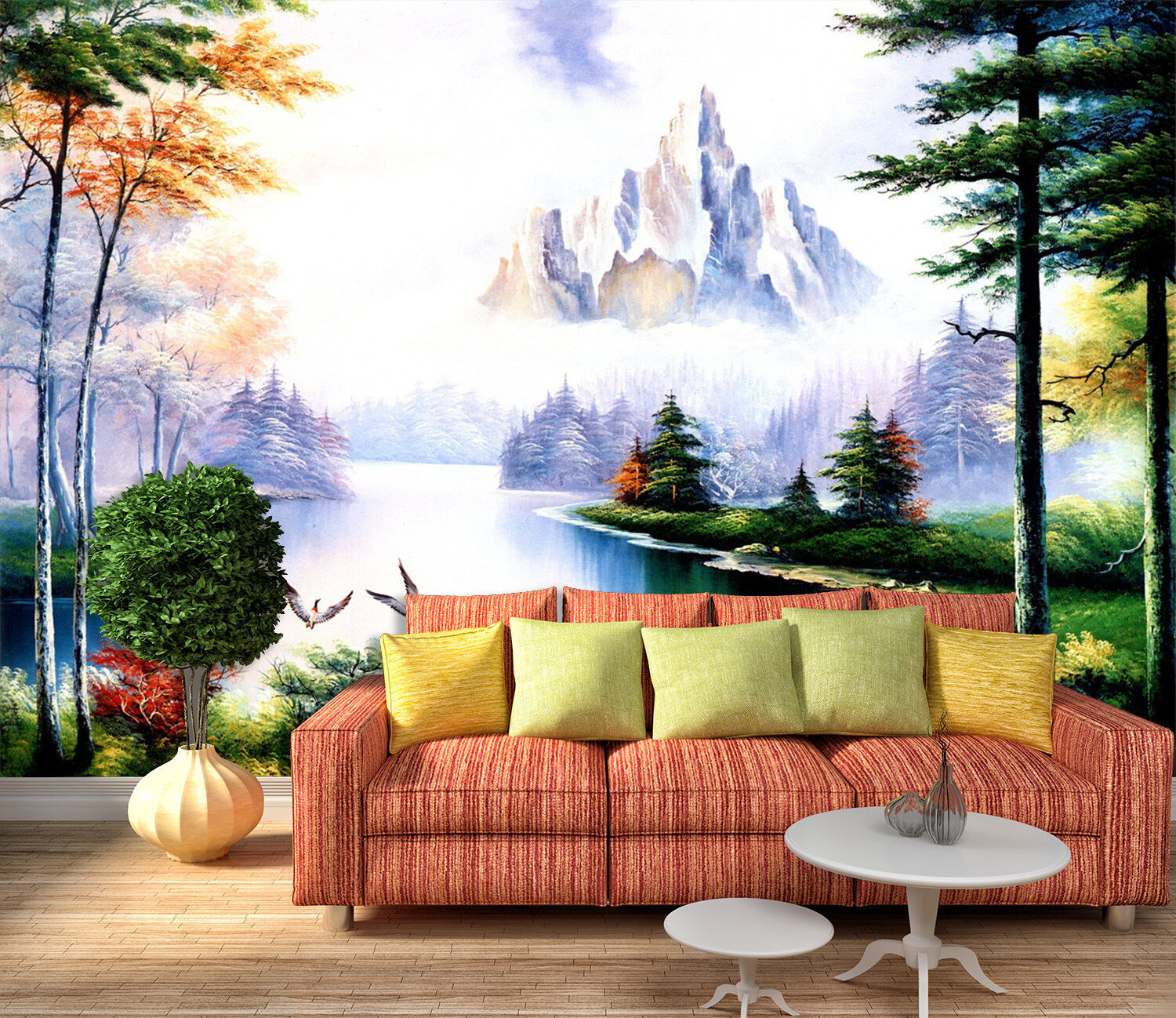3D Forest, lake, animal 346 Wall Paper Print Wall Decal Deco Indoor Wall Murals