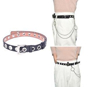 Women-Men-Punk-Leather-Belt-Rivet-Eyelet-Stud-Grommet-Holes-Buckle-Chain-New-TRF
