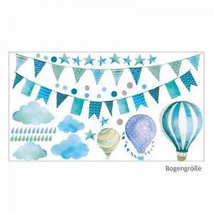 Nikima 016 Wandtattoo Girlande Wimpelkette Ballon Wolke Sterne Mint Kinderzimmer Ebay