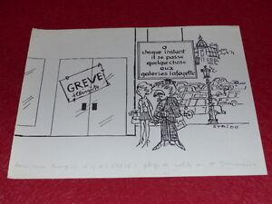 Bd-Dessin-Humoristico-Prensa-Metal-Dessin-Original-Huelga-Galerias-Lafayette