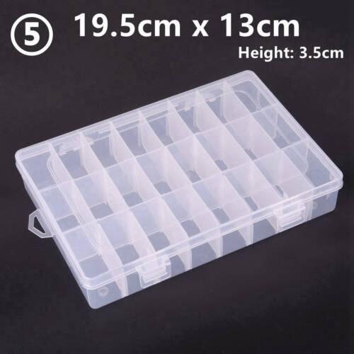 8//10//15//24//36 Removable Compartment Bead Storage Plastic Box Organizer Container