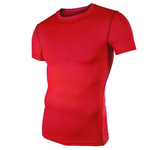 Mens Compression T Shirt Base Layer Sport Short Sleeve Workout Slim Fitness Tops