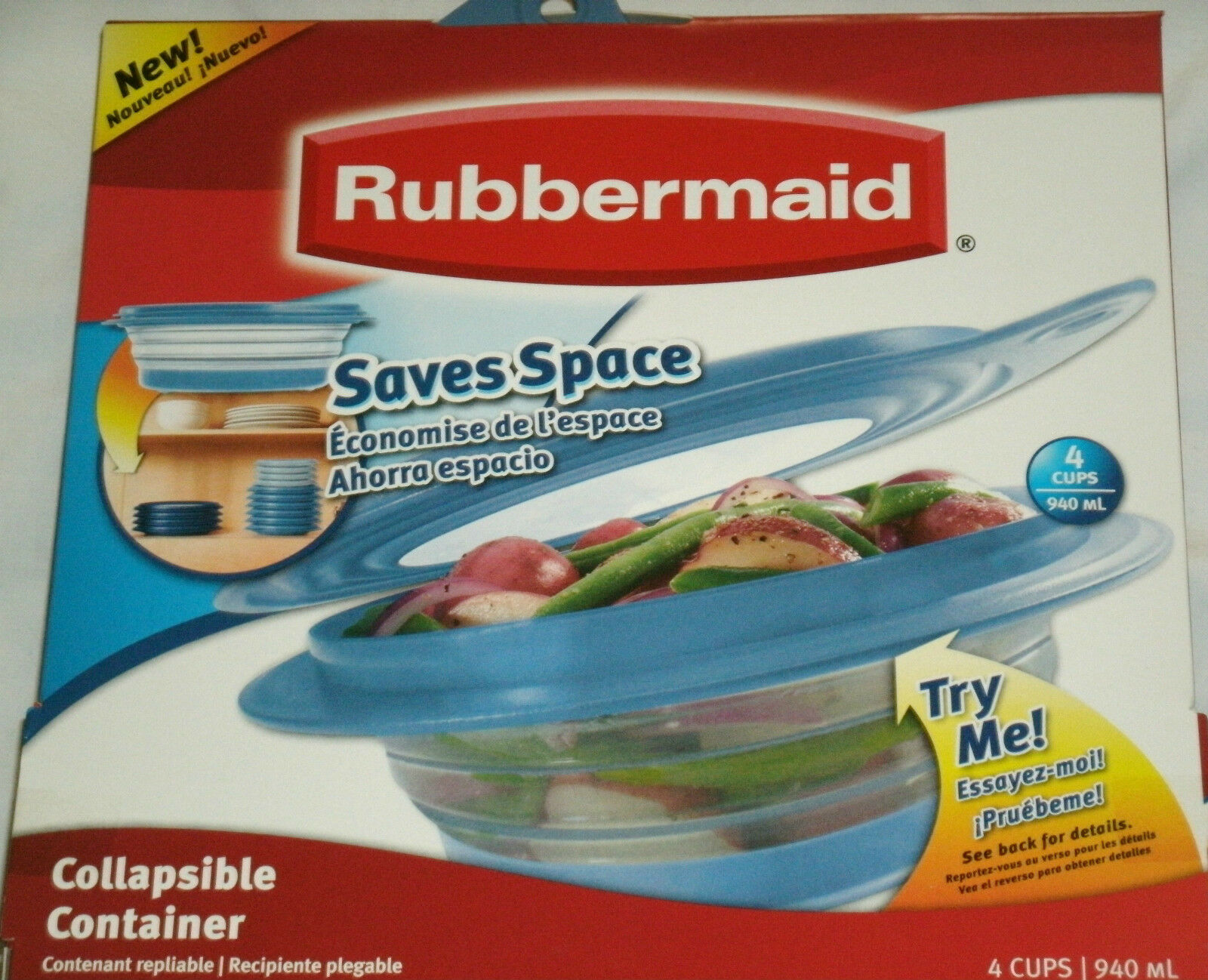 Rubbermaid Collapsible Bowl Container W Lid 4 Cup Size Saves Space