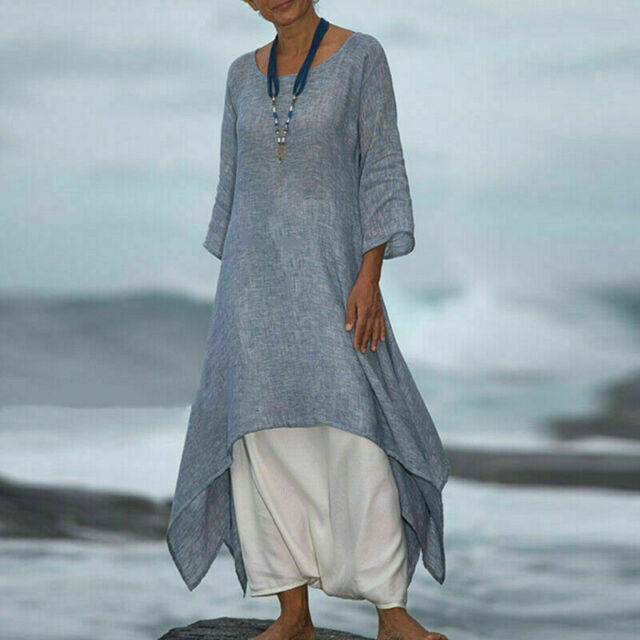 NEW Women Casual Baggy Boho Cotton Linen Floral Maxi Long Dress Holiday Kaftan