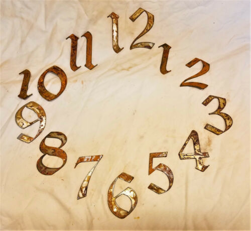"3/"" Gothic Old English Numbers 1-12 Rough Rusty Metal Vintage Clock Set Craft DIY"