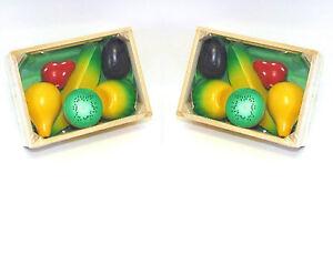 2x-Holz-Kiste-Holz-Korb-Obst-Stiege-Kaufladen-Zubehoer-Kinderkueche-Kaufmannsladen