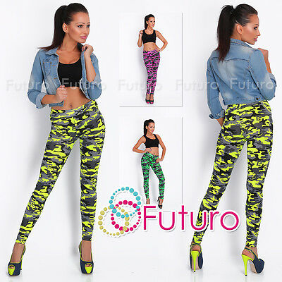 Camouflage Print Ladies Full Length Leggings Gym Stretchy Pants Sizes 8-14 2394