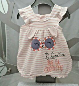 Petit Béguin combishort blanc rayé rose motif yeux lunettes bébé 6 mois