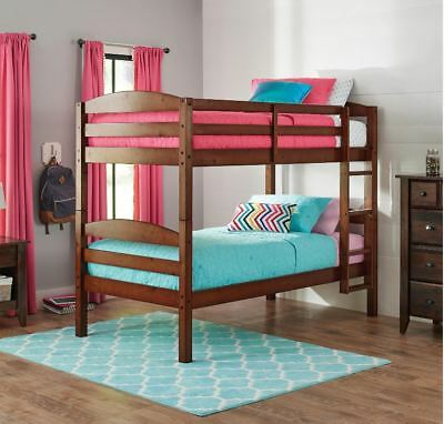 Bunk Beds Kids Twin Ovr Twin Low Bunked Bed Bedroom Furniture Ladder Wood  Cherry | eBay