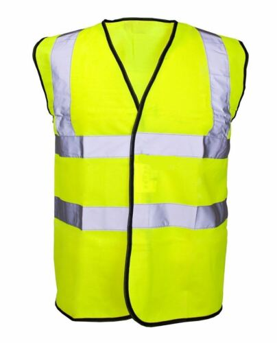Adult High Visibility Yellow Vest Mens Work Wear Safety Reflective Waistcoat