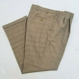 Barry-Bricken-38-x-32-Wool-Brown-Check-Plaid-Suit-Pants-S