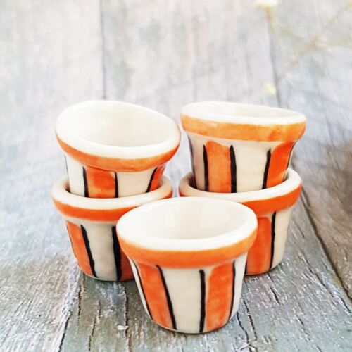 5 Ceramic Orange White Jar Pot Dollhouse Miniatures Fairy Garden Decor Wholesale