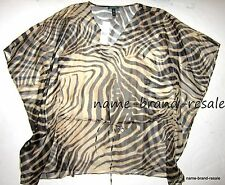 LAUREN Ralph Lauren $120 Womens PLUS Size 2X Animal Print Sheer PONCHO Top Tank