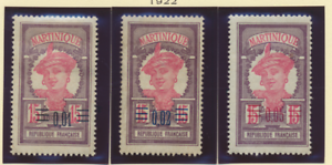 Martinique Stamps Scott #108 To 110, Mint Hinged