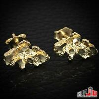 10k Yellow Gold Small Size Mini Nugget Earrings Mens Ladies Unisex Real Fashion