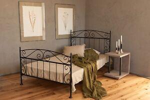 metallbett in schwarz 140x200 aus schmiedeeisen inkl lattenrost ebay. Black Bedroom Furniture Sets. Home Design Ideas