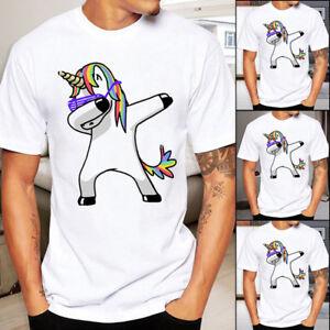 Details about Unsiex Dabbing Unicorn Mens Women Casual T-Shirt Graphic  Dabbin Animal Tee#git