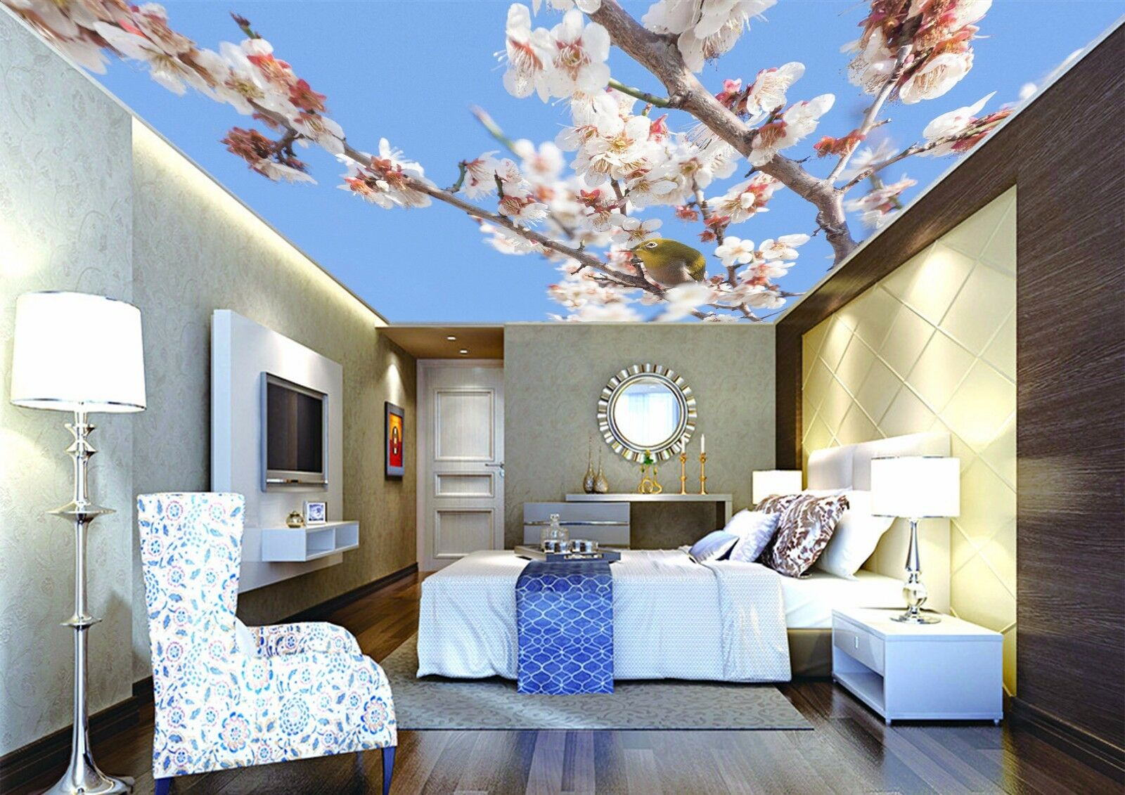 3D Flower Bird 85 Ceiling WallPaper Murals Wall Print Decal Deco AJ WALLPAPER GB