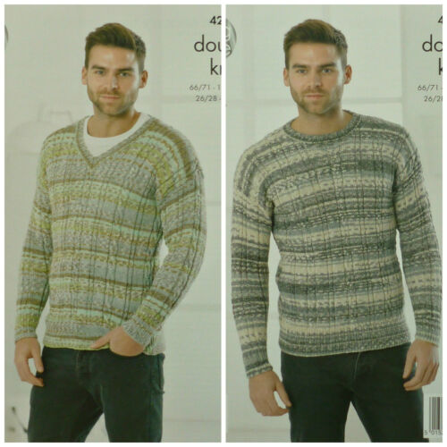 KNITTING PATTERN Mens Long Sleeve Round /& V-Neck Cable Rib Jumpers DK 4261
