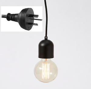 Plug-In-Black-Metal-Pendant-Light-DIY-Fabric-Cord-Set-4-5-metre-Plug-Lamp