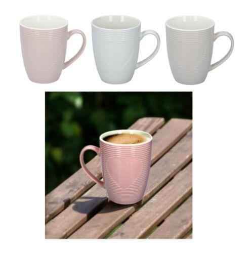 Set Of 3 Coffee Mugs Embossed Heart Tea Cups Latte Hot Drink Porcelain 300ml