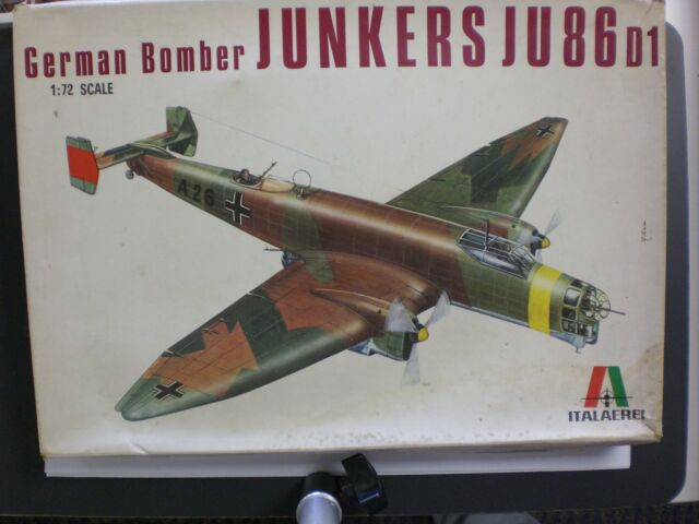 Italeri 1/72nd Scale German Bomber Junkers JU 86D1 Kit No. 114 Used/Started Kit!