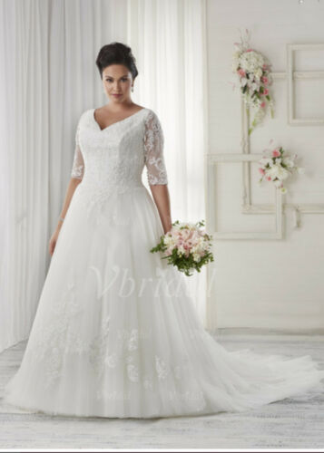 New Plus Size WhiteIvory Bridal Gown Lace Wedding Dress Stock Size1426