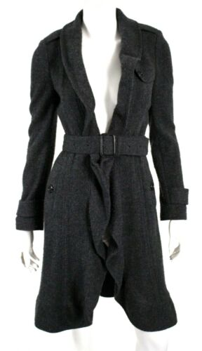 BURBERRY Gray Wool Cashmere Ruffled Open Front Bel