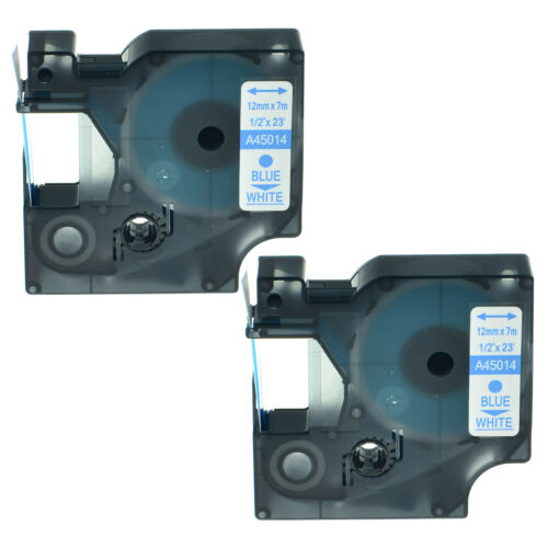 """2PK 45014 Blue on White Label Tape for DYMO D1 Labelmanager 200 120P 12mm 1//2/"""""""