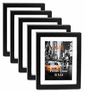 "Cavepop 11x14"" Black Wood Textured Picture Frames - Set of 5"