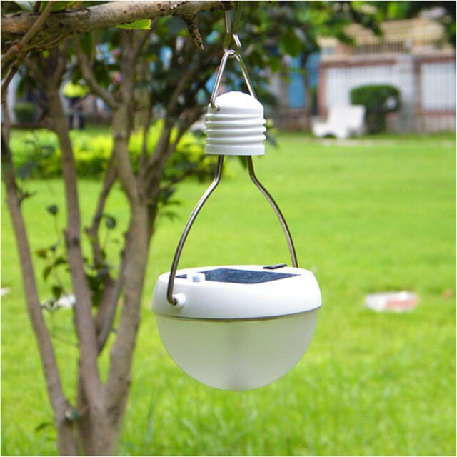 Solar LED Power Saving Bulb Camping Lantern Waterproof Light Indoor Outdoor Whit