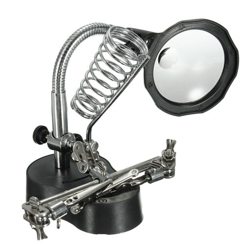 Soldering Iron Stand with LED Helping Hands Magnifying Glass Crocodile Clip
