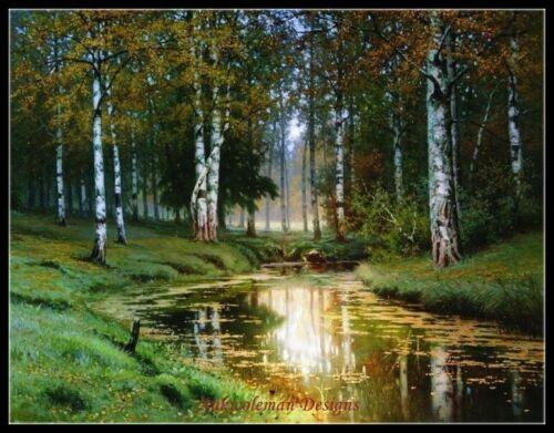 Landscape River DIY Chart Counted Cross Stitch Patterns Needlework DMC Color