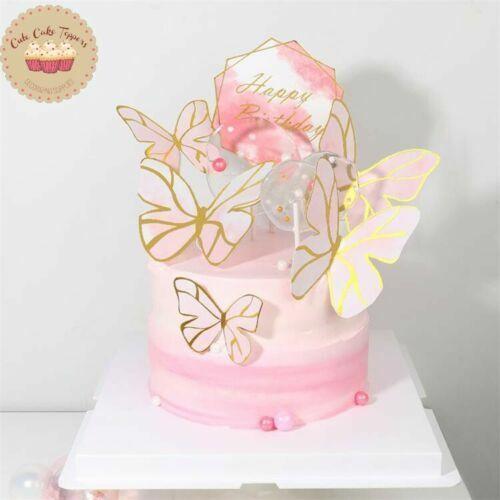 ⭐ 6 un. hágalo usted mismo para Decoración de Pasteles Feliz Cumpleaños Tema Rosa Mariposa Papel Cake Topper ⭐