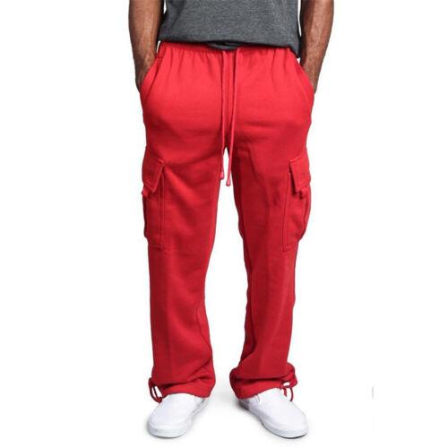 Men/'s Jogger Sweatpants Fleece Cargo Pocket Sweat Pants Casual Loose Trousers