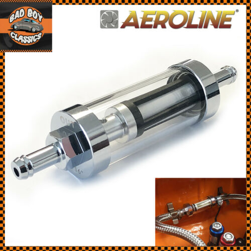 """Chrome /& Real Glass Re-Cleanable Inline Fuel Filter 1//4/"""" 6mm Classic MINI"""
