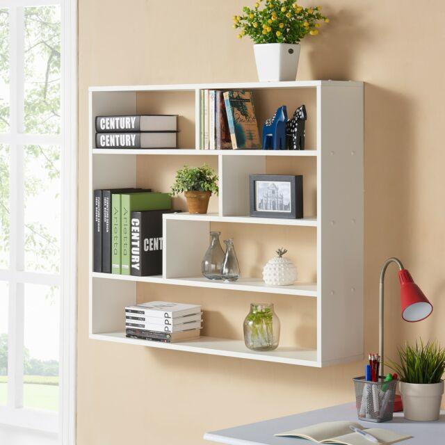 Bookshelf Display Unit White Wood Wall Mounted Storage Shelves Bookcase  Decor