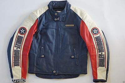 Harley Davidson Men Rapid City Colorblocked Leather Jacket 3XL Racing 97146-03VM