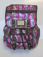 Juicy Couture Pink(red) Silver Sequin Striped Designer Backpack Bag School NWT