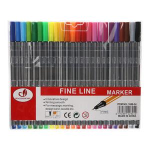 Point-24-Farben-Fineliner-Tintenschreiber-Stifte-Sets-0-4mm-Zubehoer