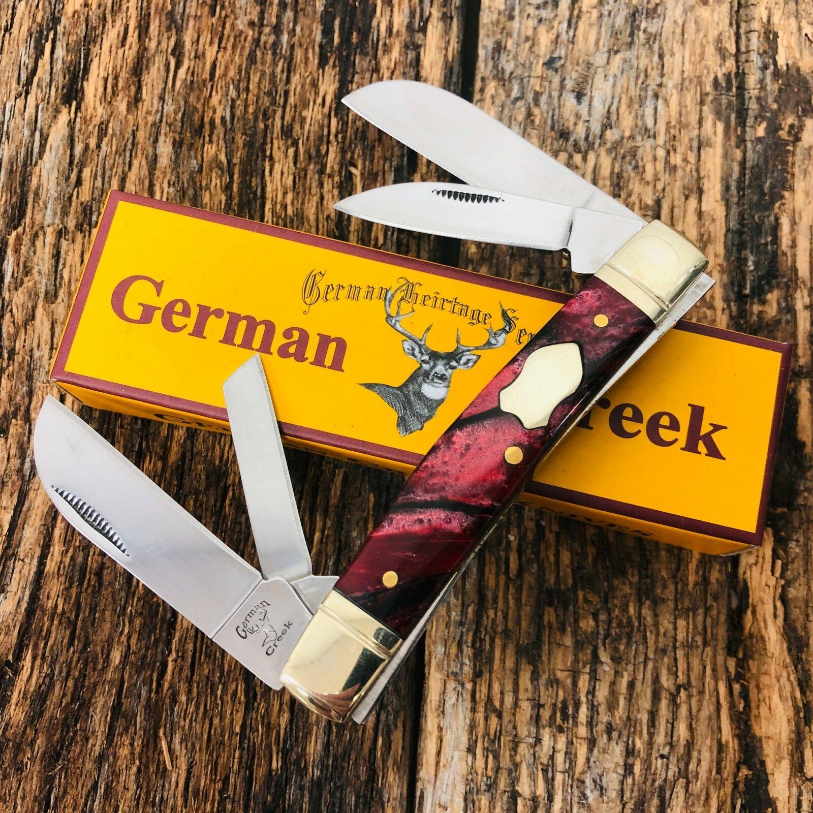 GERMAN CREEK 3 5/8″ Congress Pocket Knife 4 Blades, Brand New RED SWIRL a