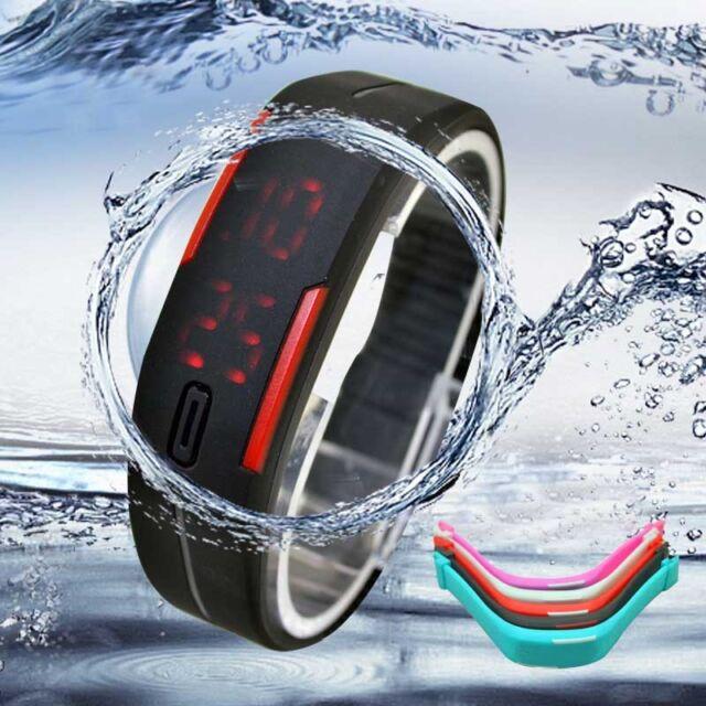 Ultra Thin Men Girl Sports Silicone Digital LED Sports Bracelet Wrist Watch Nice