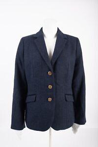 Talbots Womens Aberdeen Blazer Jacket sz 8 Navy Blue Wool Three Gold Buttons