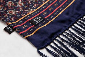 TOOTAL-Authentique-Foulard-de-soie-vintage-mod-moyen-Bleu-marine-Paisley-NEUF
